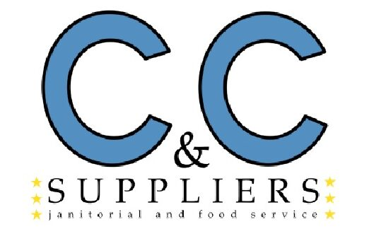 """C & C Suppliers janitorial and food service logo with two large blue C's at the top and three yellow stars around the left and right sides of """"suppliers"""""""